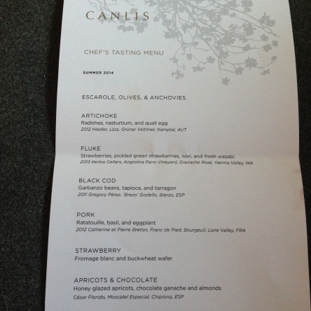 Regular Summer 2014 Tasting Menu