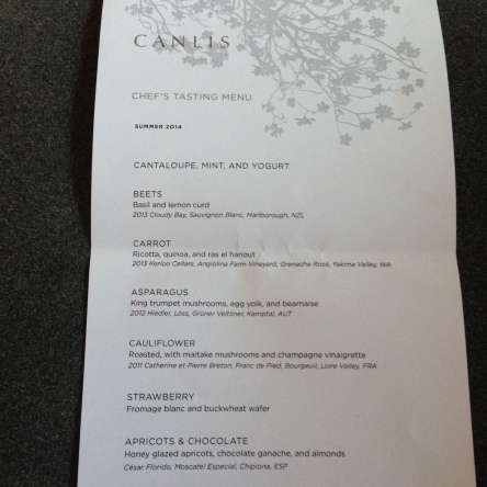 Vegetarian Summer 2014 Tasting Menu